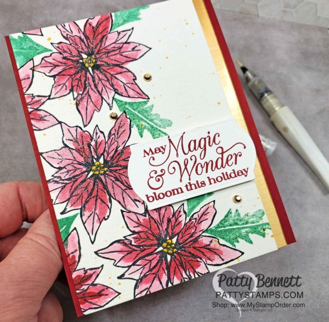 Stampin' UP! Poinsettia Petals Christmas Card Idea painted with Wink of Stella and Cherry Cobbler reinker by Patty Bennett