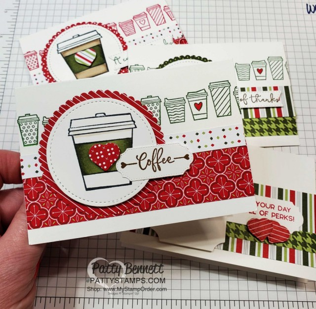 Press On stamp set from Stampin' UP! - cute coffee cup cards featuring Stampin' Blends coloring and 'Tis the Season designer paper. by Patty Bennett www.PattyStamps.com