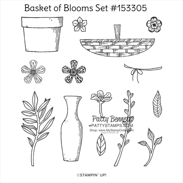 Stampin Up Basket of Blooms stamp set #153305 coordinates with the Small Blooms punch. Shop www.MyStampOrder.com