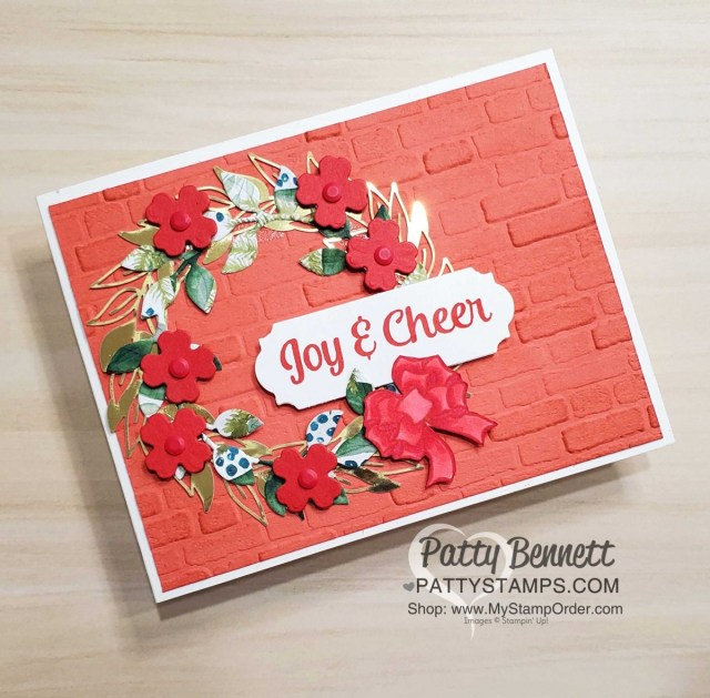 Stampin' UP! Arrange a Wreath Christmas Card idea featuring Forever Greenery and In Good Taste designer paper and Brick embossing folder. card idea by Patty Bennett www.PattyStamps.com