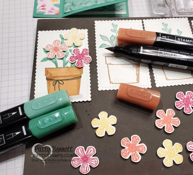 Stampin' UP! Basket of Blooms stamp set  and Stampin' Blends coloring. by Patty Bennett www.PattyStamps.com
