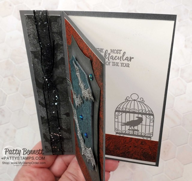 Super Easy Fun Fold Halloween card idea featuring Stampin' UP! Hallows Night Bundle and Magic in this Night Designer paper, by Patty Bennett, www.PattyStamps.com