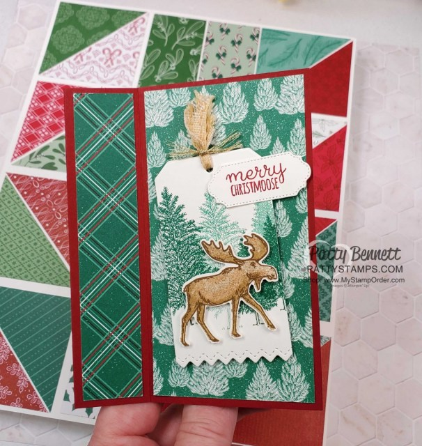 Super Easy Fun Fold card idea featuring Stampin' UP! Moose Punch and Tis the Season Designer paper, by Patty Bennett, www.PattyStamps.com