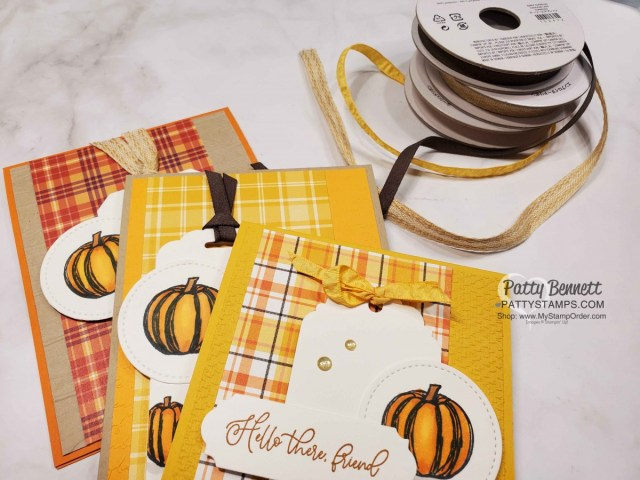 Ribbon Choices for Fall Pumpkin Card ideas featuring Plaid Tidings designer paper, Gather Together and Autumn Greetings stamp sets, by Patty Bennett www.PattyStamps.com