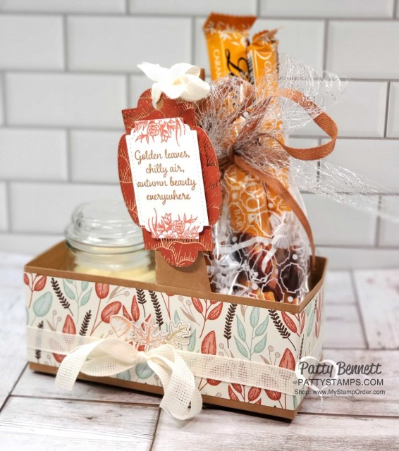 Coffee Cup Holder from Stampin UP! with Gilded Autumn paper, great Thanksgiving hostess idea with candle and Lindt chocolate treats in mosaic cello bag. www.PattyStamps.com