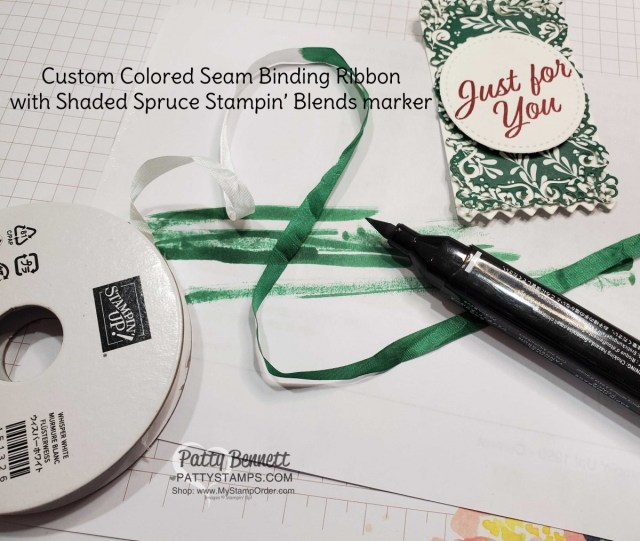 Craft Tip! Color White ribbon with Stampin' Blends markers to match your papercrafting project!  www.PattyStamps.com