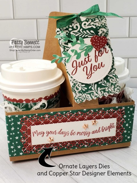 Mini Coffee Cup Carrier from Stampin' Up! with Classic Christmas designer paper and Curvy Celebrations bundle and Ornate Layers dies. by Patty Bennett www.PattyStamps.com