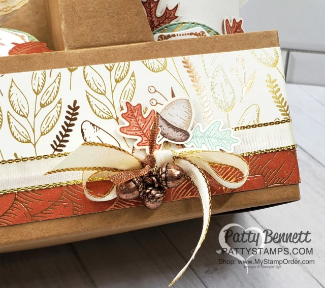 Mini Coffee Cup Carrier decorated with Stampin' Up! Gilded Autumn designer paper, Acorn Trinkets, and Autumn Punch pack images. Perfect for Thanksgiving hostess gift. www.PattyStamps.com