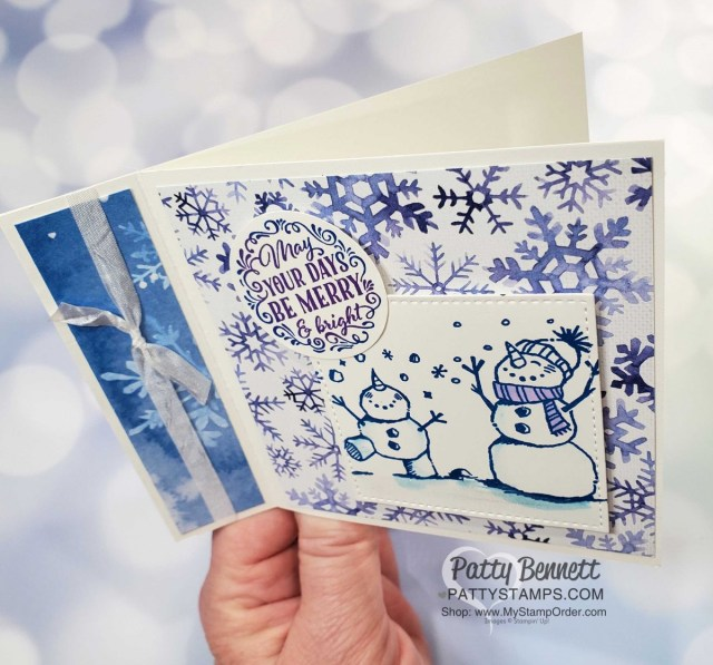Snowflake Splendor designer paper card idea featuring side fold idea and Snowman Season stamp set. Stampin' UP! Christmas Card supplies www.PattyStamps.com