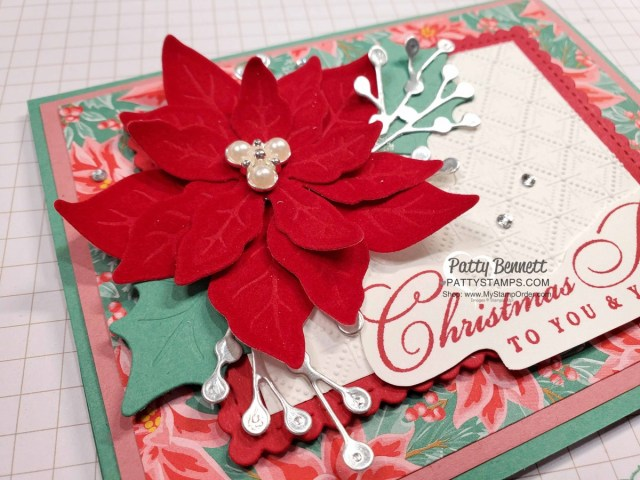 Red Velvet Poinsettia Dies Christmas Card Idea featuring Dainty Diamonds embossing folder and Flowers for Every Season Poinsettia paper. www.PattyStamps.com