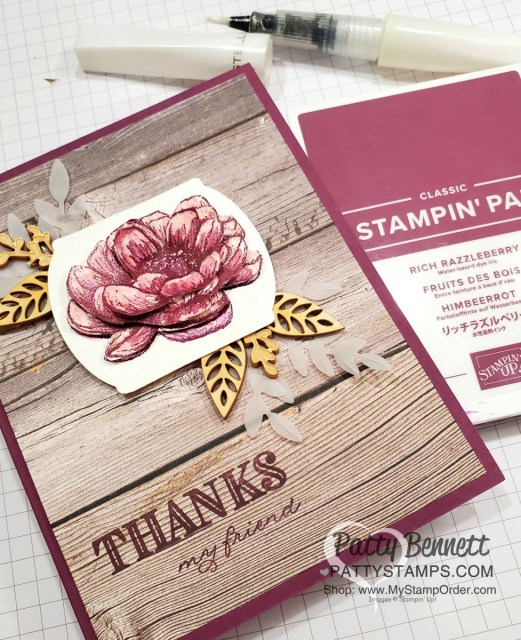 Thank you card featuring Stampin' Up! Tasteful Touches stamp set colored with Wink of Stella pen. In Good Taste designer paper.