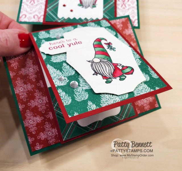 Fun Fold / Gift Card holder. Stampin UP! Gnome for the Holidays Christmas cheer card featuring Stampin Blends coloring and 'Tis the Season designer paper. www.PattyStamps.com