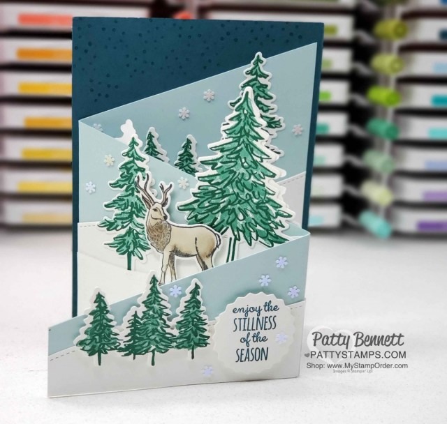 Make a Tri-fold card with 12x12 cardstock and In the Pines and Wishes & Wonder stamp sets from Stampin' Up!. Video tutorial by Patty Bennett