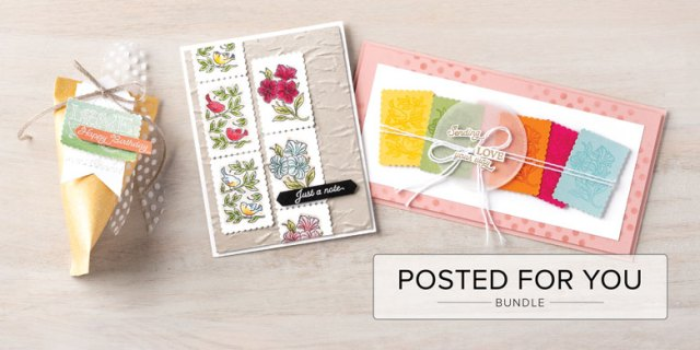 Stampin' Up! Posted for You Bundle card and project ideas featuring Postage Stamp Punch www.PattyStamps.com