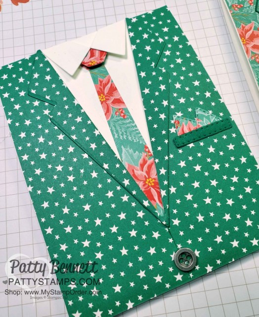 Suit and Tie die Not So Ugly Christmas Suit cards featuring Stampin' Up!  Classic Christmas star designer paper. www.PattyStamps.com
