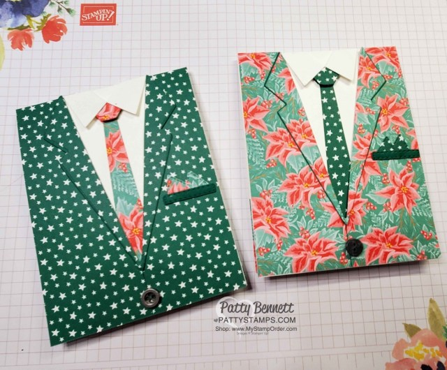 Suit and Tie die Not So Ugly Christmas Suit cards featuring Stampin' Up! Flowers for Every Season paper and Classic Christmas star pattern designer paper. www.PattyStamps.com
