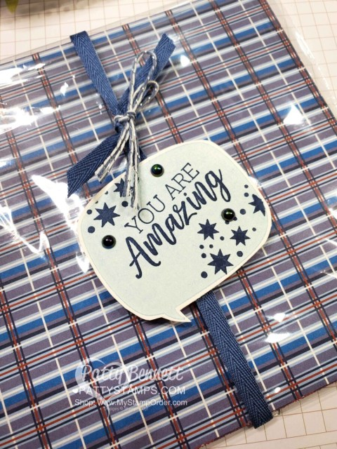 Stampin' Up! You are Amazing stamp set and Well Suited designer paper - prize patrol for team gifts! www.PattyStamps.com