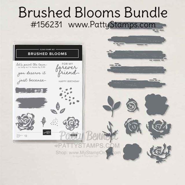 Brushed Blooms bundle - flower stamp set and dies Stampin' Up! #156231 www.pattystamps.com