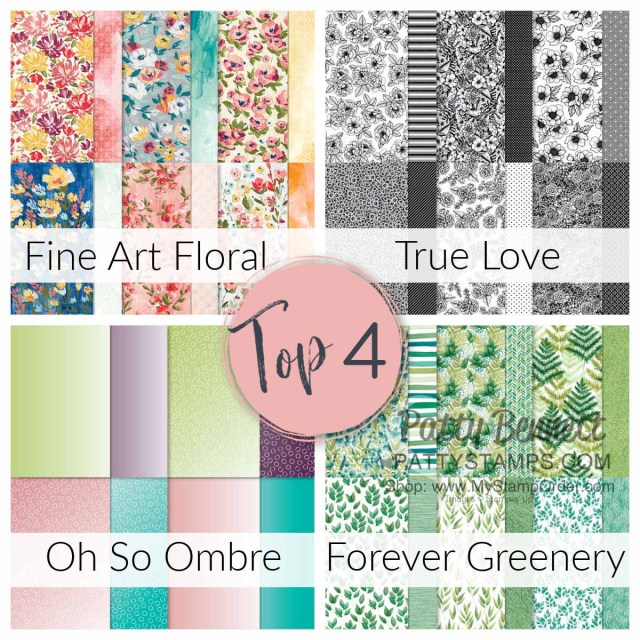 Top 4 choices in unofficial poll for favorite current Stampin Up! designer paper, www.PattyStamps.com