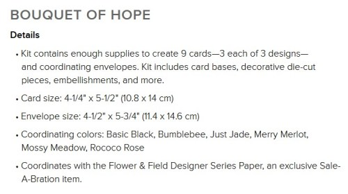 Monthly Crafting Kit subscription from Stampin Up!  Bouquet of Hope kit for February 2021. Deadline to subscribe: 2-10-21 with Patty Bennett www.PattyStamps.com