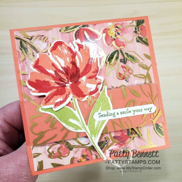 How to use the Golden Garden acetate overlay on Fine Art Floral designer paper to make a card with Calypso Coral cardstock! Stampin' UP! card making supplies, www.PattyStamps.com
