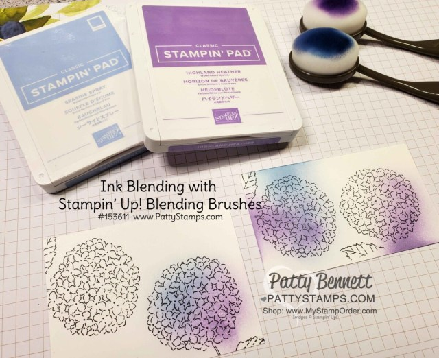 Stampin' Up! Blending Brushes used to add color to the Hydrangea Haven stamp set from Stampin Up! Brushes #153611 www.pattystamps.com