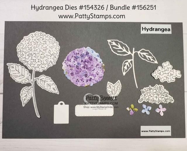Hydrangea dies, Hydrangea Haven stamp set, Hydrangea Hill designer paper from Stampin Up!. Bundle #156251. www.PattyStamps.com