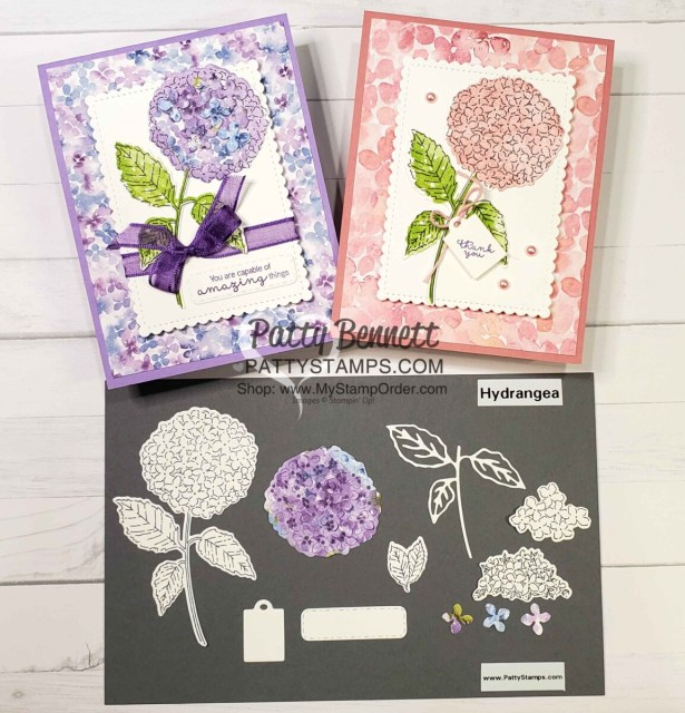 Stampin' Up! Hydrangea Haven bundle #156251 stamps and dies for cardmaking. www.PattyStamps.com