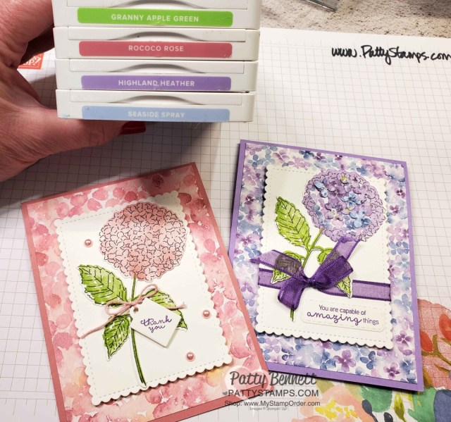 Color Combo for Stampin UP! Hydrangea Haven stamp set card ideas from Patty Bennett www.PattyStamps.com