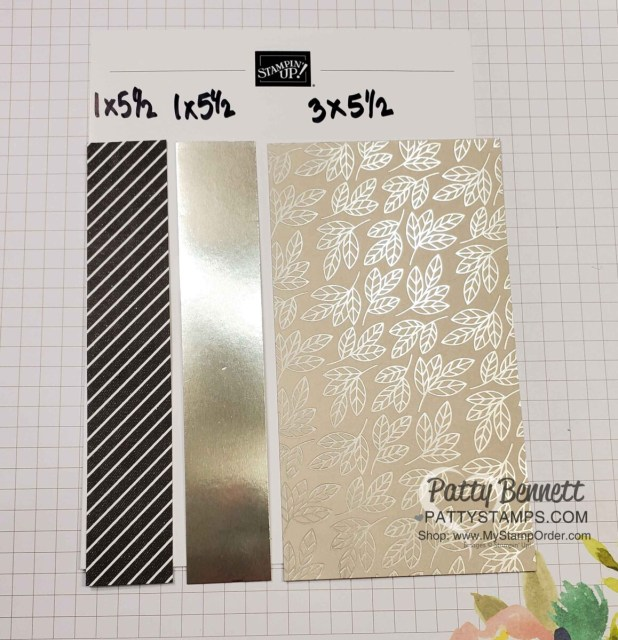 Cutting measurements for Clean and Simple Anniversary card idea featring Love You Always specialty foil from Stampin' Up!. by Patty Bennett www.pattystamps.com