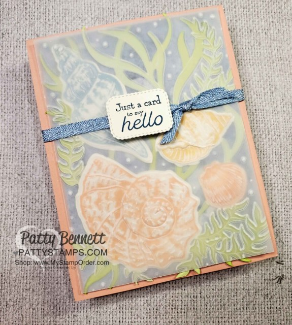 Card Making Tips featuring the Stampin' Up! Sand & Sea suite, Friends are like Seashells bundle and the Seashells embossing folder with vellum cardstock embossed overlay. by Patty Bennett www.PattyStamps.com