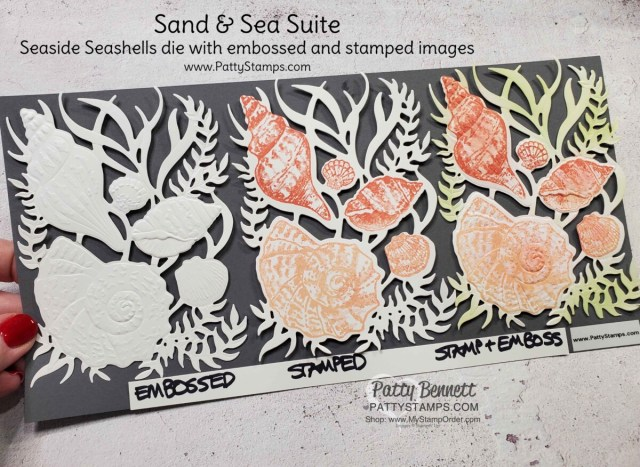 Sand and Sea Suite Seaside Seashells dies with Seashells embossing folder and sponging with Blending Brushes, by Patty Bennett