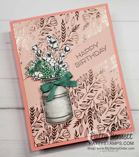 Split Card Idea using the Stampin' Up! paper trimmer.  Country Home stamp set and Love you Always specialty  designer paper. Card idea by Patty Bennett www.PattyStamps.com
