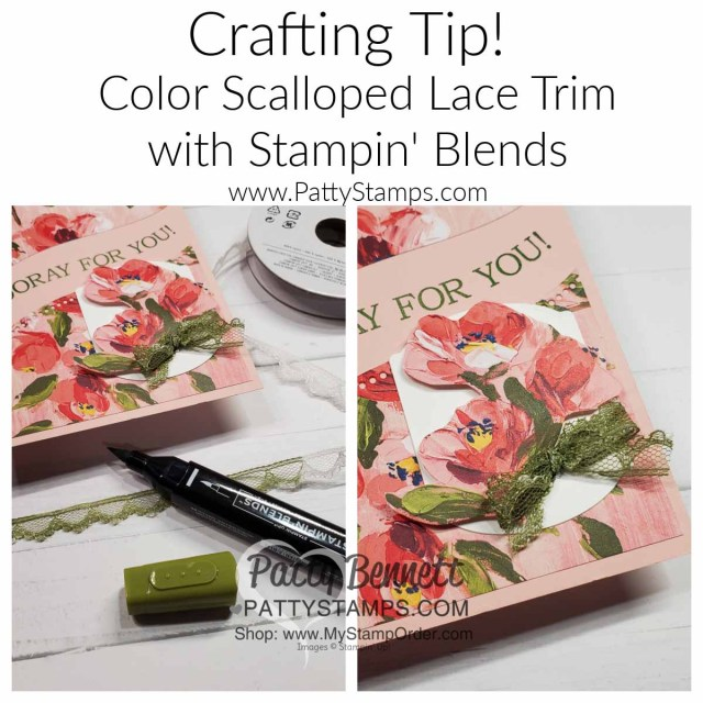 Craft Tip! Color the Stampin' Up! scalloped lace trim with Stampin' Blends markers!  www.PattyStamps.com