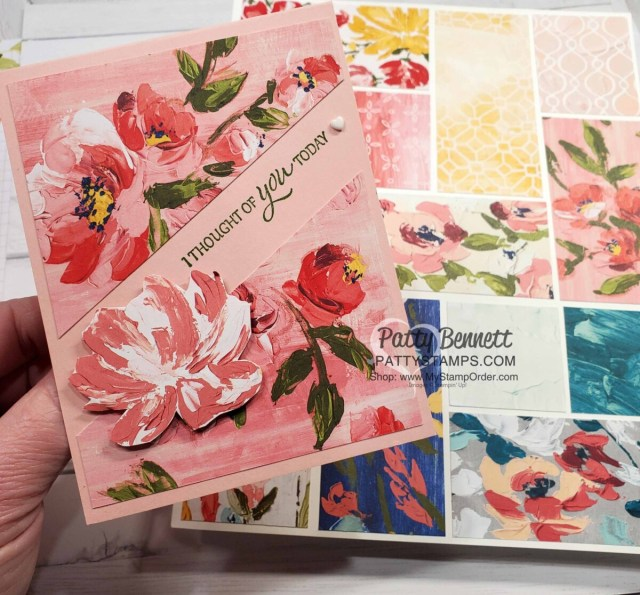 Split Card Idea using the Stampin' Up! paper trimmer and Fine Art Floral designer paper. Card idea by Patty Bennett www.PattyStamps.com