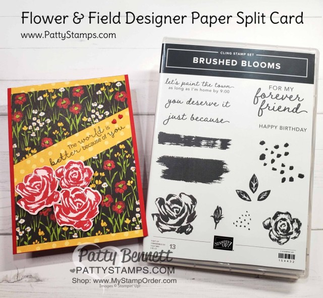 Split Card Idea using the Stampin' Up! paper trimmer and Flower & Field designer paper. Brushed Blooms stamp set. Card idea by Patty Bennett www.PattyStamps.com