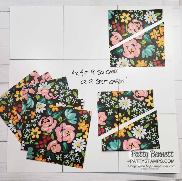 Split Card idea to maximize 12x12 designer paper. Cut 9 4x4 squares to make 9 cards! www.PattyStamps.com
