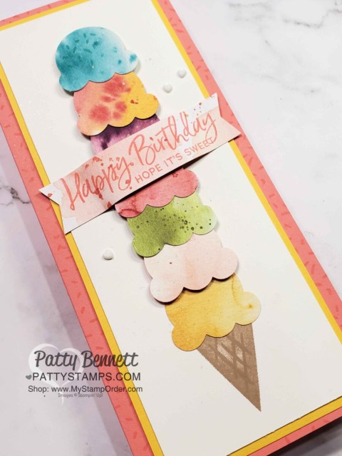 Slimline Birthday Card featuring Stampin' Up! Sweet Ice Cream bundle and Ice Cream Corner designer paper, by Patty Bennett www.pattystamps.com