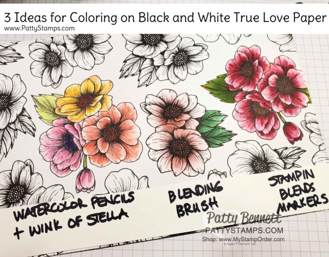 3 ways to color on the Stampin' Up! True Love designer paper #154281  www.PattyStamps.com Blending Brushes, Stampin blends markers and watercolor pencils.