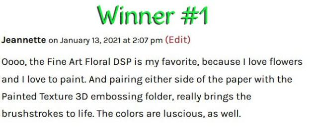 Designer Series Paper Blog Candy winner #1 January 2021 www.PattyStamps.com