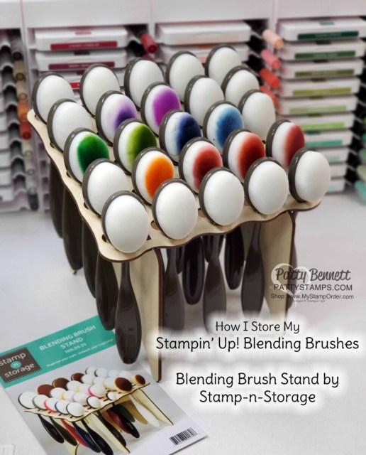 Stampin' Up! Blending Brush storage solution from Stamp-n-Storage! Craft Room Organization ideas by Patty Bennett