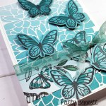 Floating and Fluttering butterfly stamp set - Stampin Up card idea featuring Oh So Ombre paper and Potted Succulents die background. www.PattyStamps.com