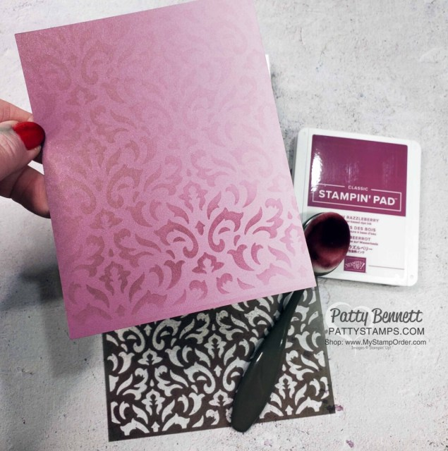 Stampin Up! Basic Patterns masks, Blending Brushes and ink pads create a beautiful stenciled background on Oh So Ombre designer paper. by Patty Bennett www.PattyStamps.com