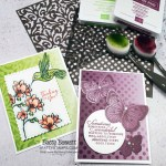 Use Stampin Up! masks, Blending Brushes and ink pads to create a beautiful stenciled background on Oh So Ombre designer paper. Cards by Patty Bennett