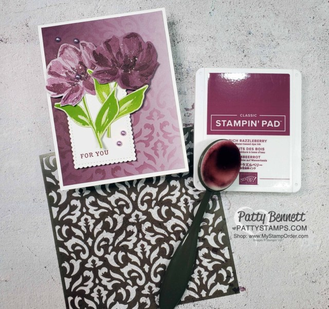 Stampin Up! Basic Patterns masks, Blending Brushes and ink pads create a beautiful stenciled background on Oh So Ombre designer paper. Card features the Art Gallery and Delicate Petals stamp sets. by Patty Bennett www.PattyStamps.com