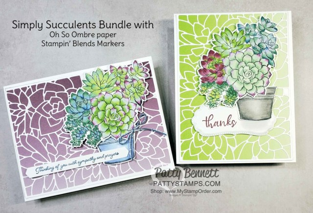 Potted Succulents dies from the Stampin' UP! Simply Succulents bundle create a beautiful card background with the Oh So Ombre Sale-a-Bration paper!  www.PattyStamps.com