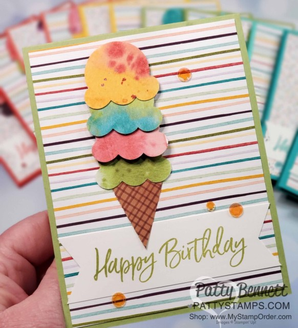 Handmade birthday card featuring Ice Cream Corner Suite from Stampin' Up!. Ice Cream Cone builder punch and Ice Cream Corner designer paper with Sequins. www.PattyStamps.com