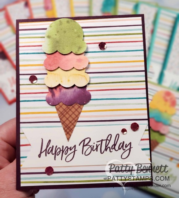 Birthday card featuring Ice Cream Corner Suite from Stampin' Up!. Ice Cream Cone builder punch and Ice Cream Corner designer paper with Sequins. www.PattyStamps.com