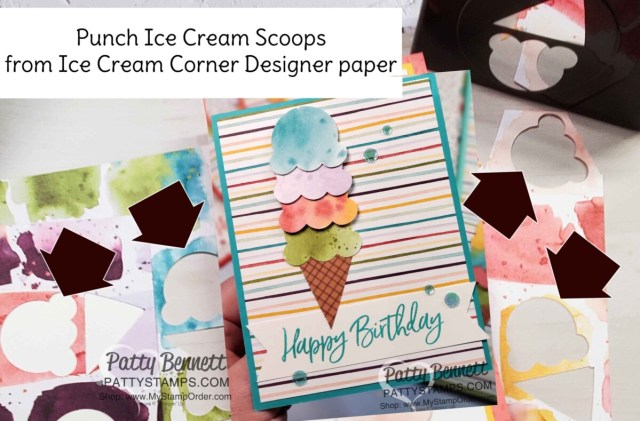 Punch Ice Cream scoops with the Stampin' Up! Ice Cream Cone builder punch and Ice Cream Corner designer paper www.PattyStamps.com