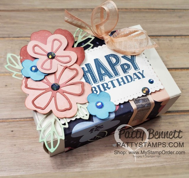 Paper Blooms Birthday Treat Box with You Are Amazing stamp set and Sale-a-Bration gift paper pack. www.PattyStamps.com